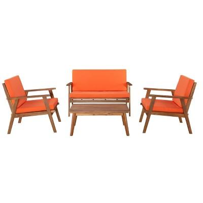4pc Cole Outdoor Seating Set Orange - Linon