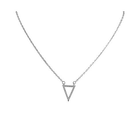 Women's Zirconite Necklace with Open Pave Cubic Zirconia Triangle in Sterling Silver - Rhodium - image 1 of 1