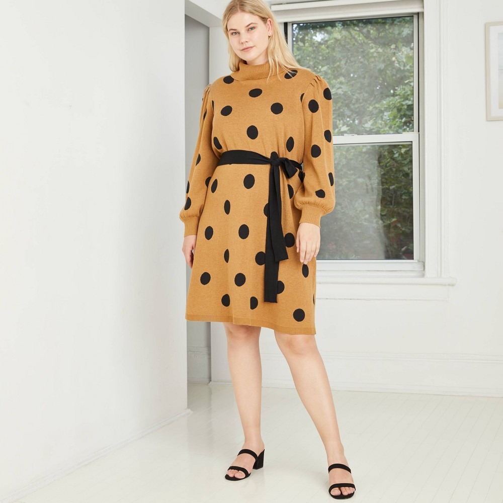 Promos Women's Plus Size Polka Dot  Print Balloon Long Sleeve Sweater Dress - Who What Wear™