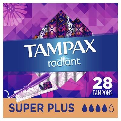 Tampax Radiant Super Plus Absorbency Tampons - 28ct : Target