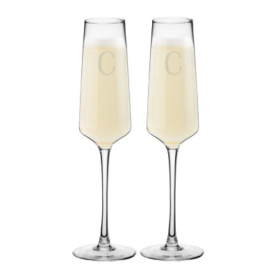9.5oz 2pk Monogram Estate Champagne Glasses C - Cathy's Concepts