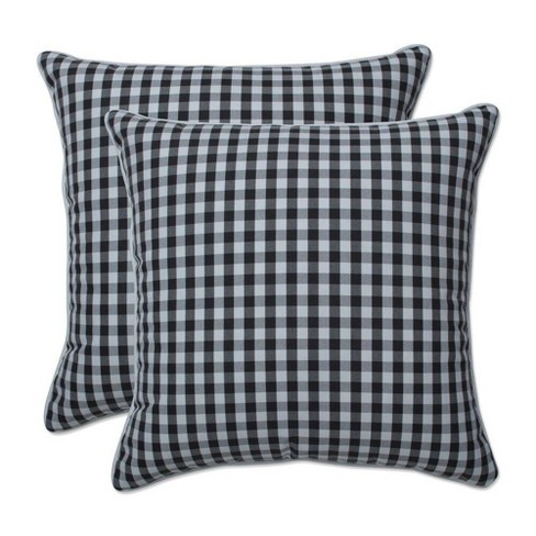 """16.5"""" x 16.5"""" Outdoor/Indoor Throw Pillow Dawson Pewter Black - Pillow Perfect - image 1 of 1"""