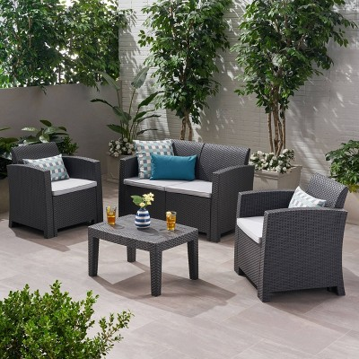 Daytona 4pc Faux Wicker Chat Set - Charcoal - Christopher Knight Home