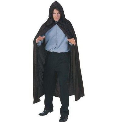 Rubies Hooded Velvet Black Cape Costume for Adults