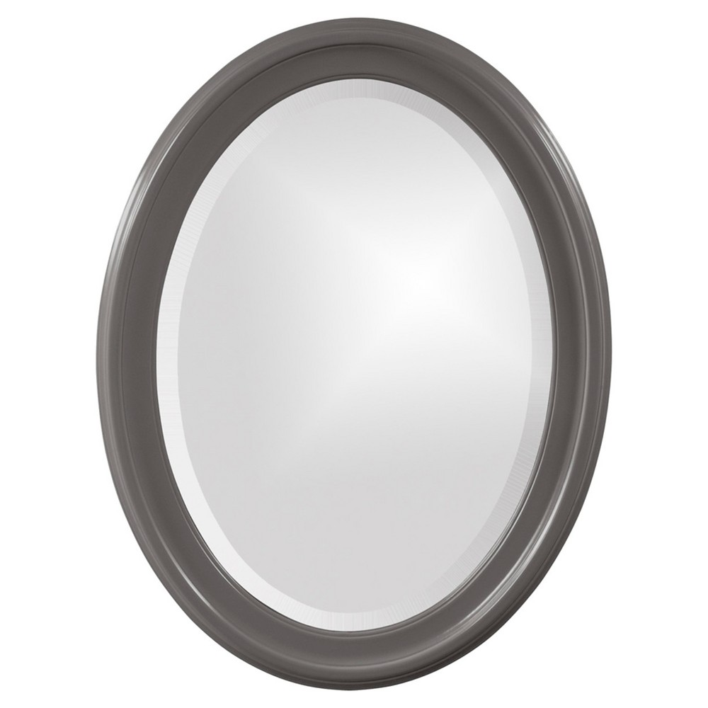 Image of Howard Elliott - George Glossy Charcoal Oval Mirror, Charcoal Heather