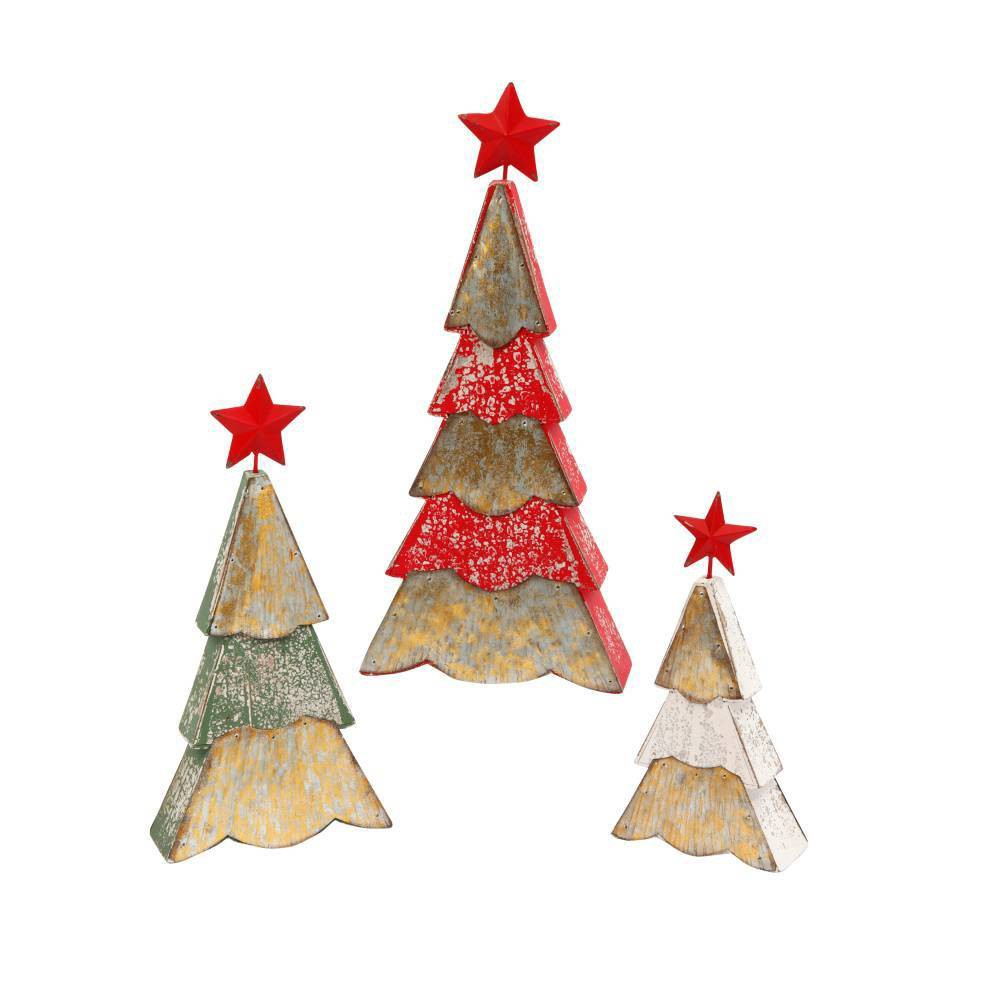 Image of 3ct Assorted Wood and Metal Christmas Tree Figurines Decorative Figurine Set - Gerson International