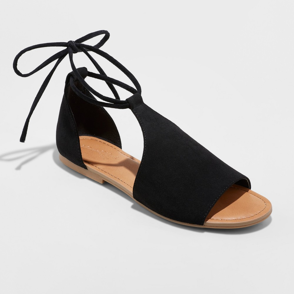 Women's Aileen Lace Up Slide Sandals - Universal Thread Black 12