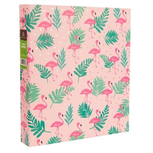 """175 Sheet 1"""" Ring Binder Flamingos Pink - Greenroom - image 1 of 2"""