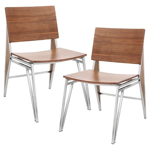 Tetra Contemporary Dining Chair Stainless Steel/Walnut Wood (Set of 2) - LumiSource - image 1 of 7
