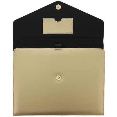 PU Leather Business Padfolio, Portfolio Folder with Pockets Holds Pens, Letter Size Notepad, Business Cards for Interview & Legal Document, Gold