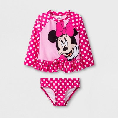 Toddler Girls' Minnie Mouse 2pc Swimsuit - Pink 3T