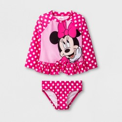Toddler Girls' Minnie Mouse 2pc Swimsuit - Pink