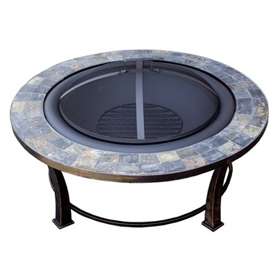 Wood Burning Fire Pit with Round Slate Table - AZ Patio Heaters