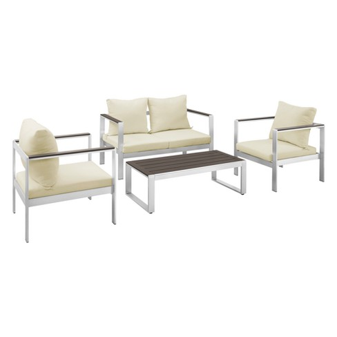 4pc Aluminum/Wood Mod Style Chat Set with Cushions - Silver/Espresso - Saracina Home - image 1 of 4