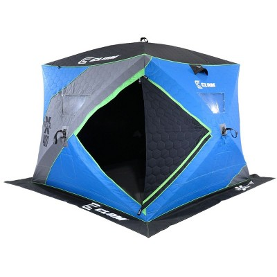 CLAM 14469 X-400 Portable 4 to 6 Person 8 Foot Pop Up Ice Fishing Angler Thermal Hub Shelter Tent with Anchors, Tie Ropes, and Carrying Bag