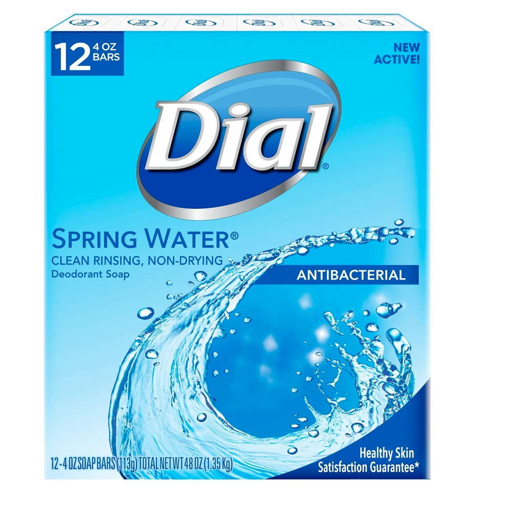 Image of Dial Antibacterial Deodorant Spring Water Bar Soap - 4oz/12pk