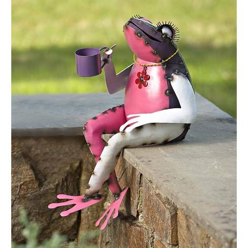 Recycled Metal Tea Frog Garden Art - Plow & Hearth - image 1 of 2