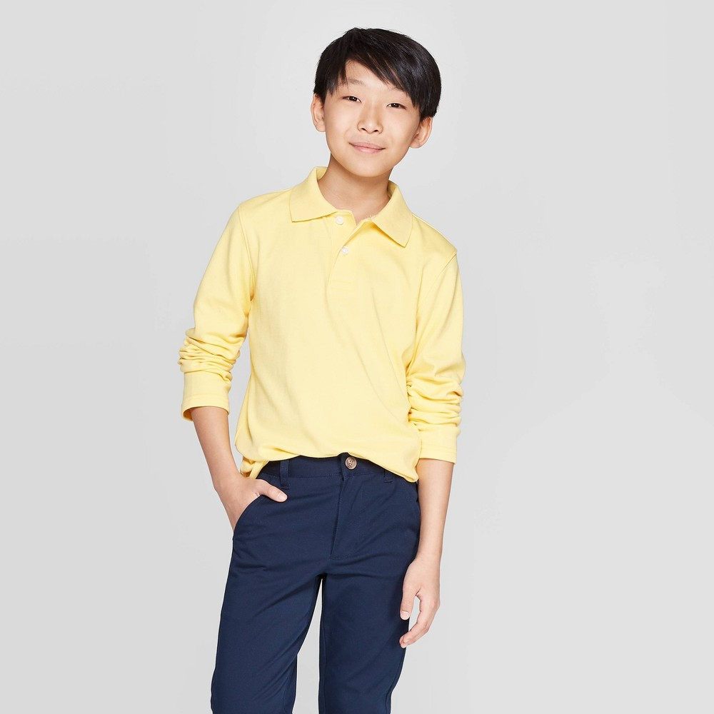 Image of Boys' Long Sleeve Interlock Uniform Polo Shirt - Cat & Jack Yellow L, Boy's, Size: Large