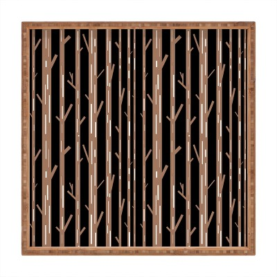 Lisa Argyropoulos Modern Trees Black Square Bamboo Tray - Deny Designs
