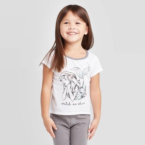 Toddler Girls' Disney Princess Ariel Watch Me Shine T-Shirt - White - image 1 of 3