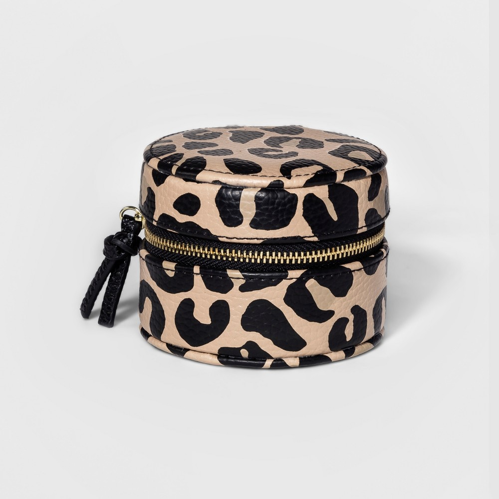Women's Jewelry Case with Interior Earring Holders - A New Day Leopard Print, Multi-Colored Zip up your jewels with ease with the Jewelry Case with Interior Earring Holders from A New Day. This small travel jewelry case separates your accessories to prevent knotted clusters, and the earring holders efficiently organize your favorite studs for compact traveling. It's easy to tuck this jewelry organizer in a tote bag or suitcase for effortless styling on-the-go. Color: Multi-Colored. Gender: Female.