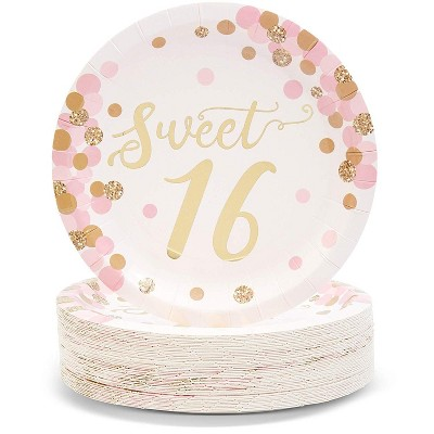 """Sparkle and Bash 48-Pack """"Sweet 16"""" 16th Birthday Disposable Paper Plates 7"""" Party Supplies"""