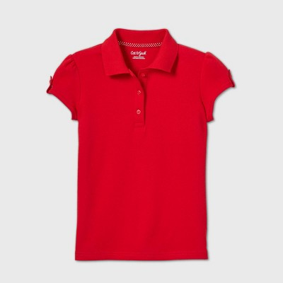 Girls' Short Sleeve Interlock Uniform Polo Shirt - Cat & Jack™ Red