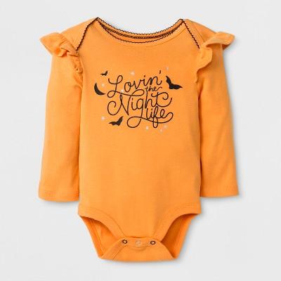 Baby Girls' Night Life Bodysuit - Cloud Island™ Orange 3-6M