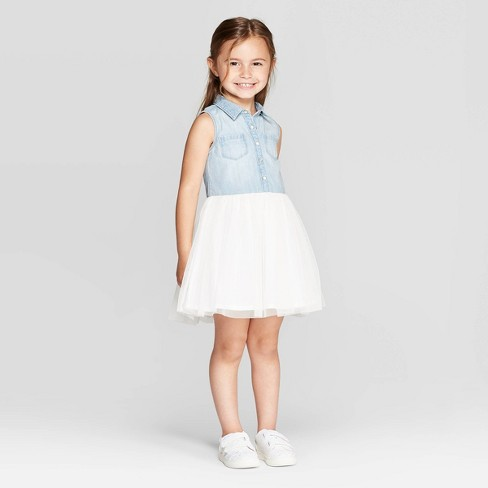 ab8c078d79a OshKosh B gosh Toddler Girls  Tank Top Denim To Tulle Dress -Blue Cream    Target