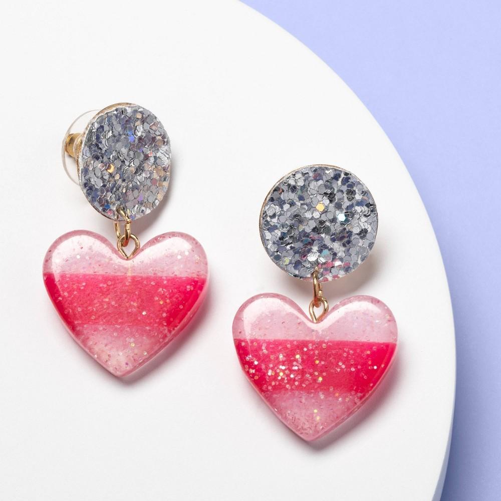 Best Shopping Girls Glitter Heart Earrings More Than Magic Pink