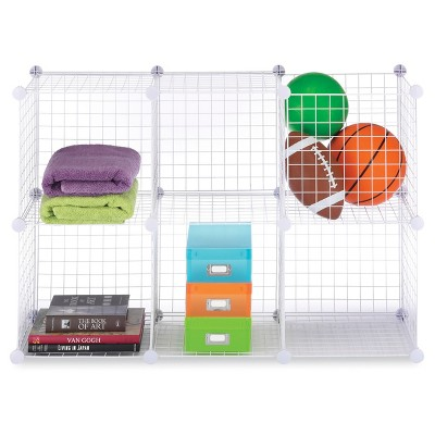 Whitmor 6 Cube Wire Storage Shelves   White