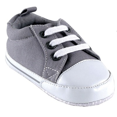 Luvable Friends Baby Unisex Crib Shoes, Gray Canvas