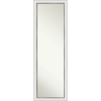 "17"" x 51"" Eva White Silver Framed On the Door Mirror - Amanti Art"