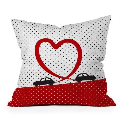 "16""x16"" Belle13 Polka Dot Car Love Square Throw Pillow - Deny Designs"