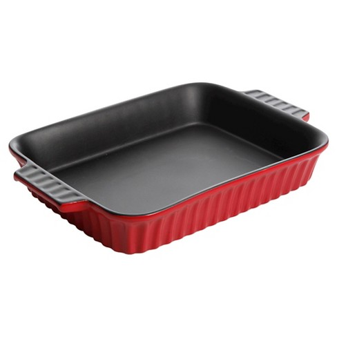 "Gibson 10"" Ribbed Rectangular Casserole - Red - image 1 of 1"