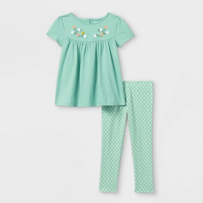 Toddler Girls' 2pc Embroidered Tunic Short Sleeve Top and Bottom Set - Just One You® made by carter's Teal
