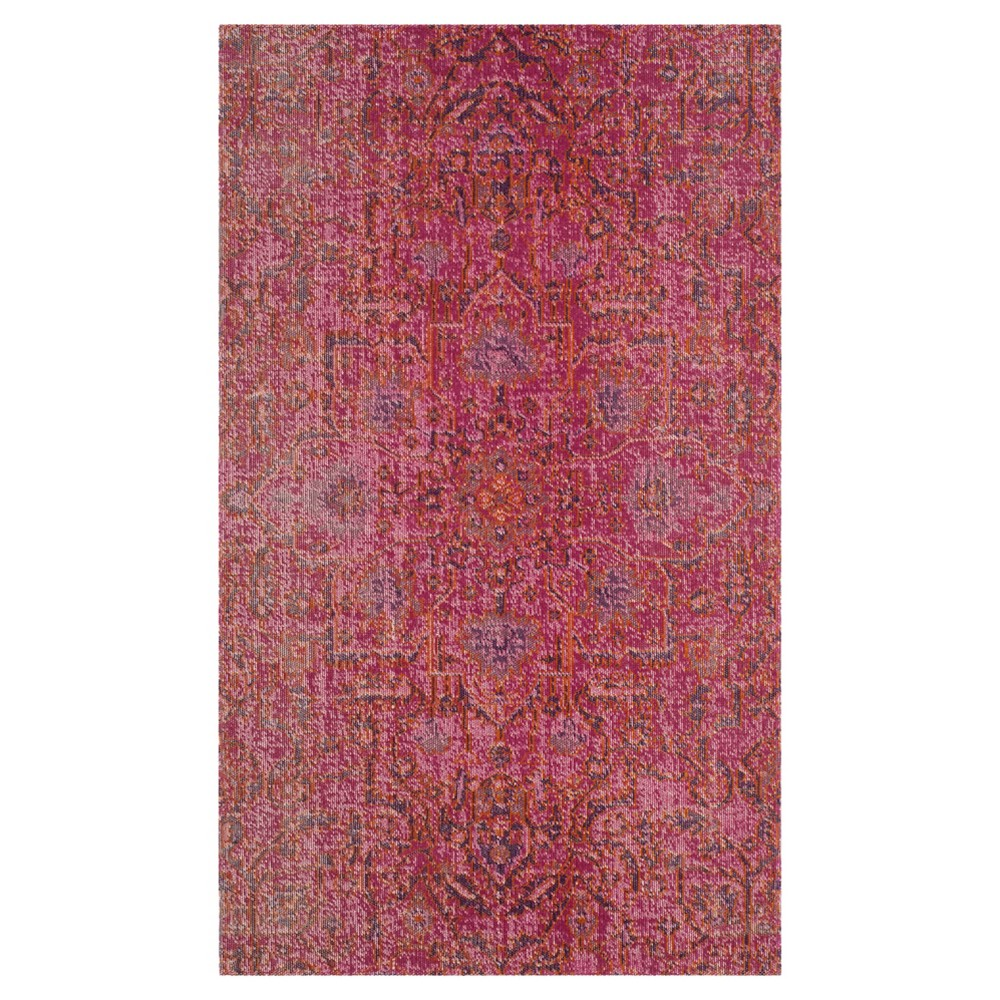 Fuchsia Medallion Loomed Accent Rug 3'x5' - Safavieh, Pink