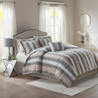Marselle Brushed Faux Fur Comforter Set by No Brand
