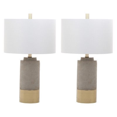Brown Table Lamp Gray 14 x14  (Set of 2)(Includes Energy Efficient Light Bulb)- Safavieh