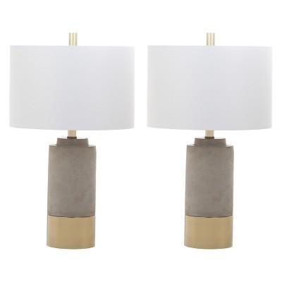 "(Set of 2) 24"" Bron Table Lamp Gray (Includes CFL Light Bulb) - Safavieh"