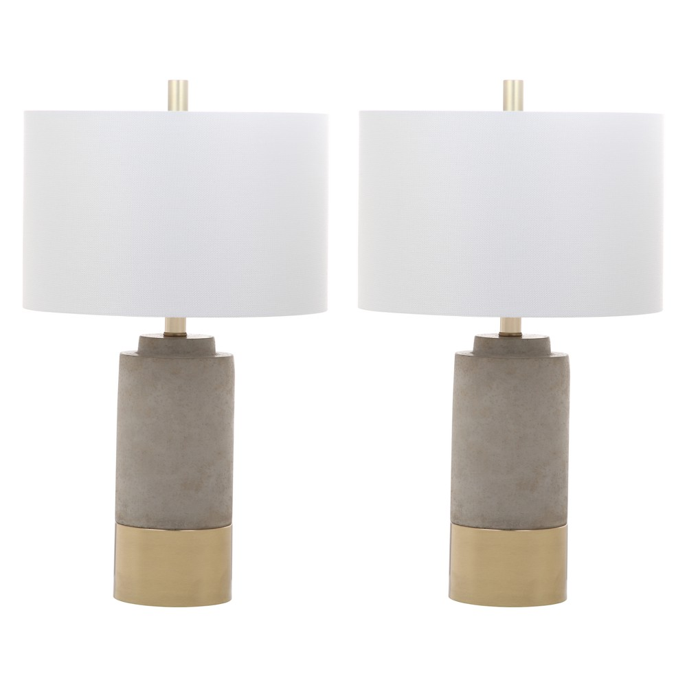 Set Of 2 24 34 Bron Table Lamp Gray Includes Cfl Light Bulb Safavieh