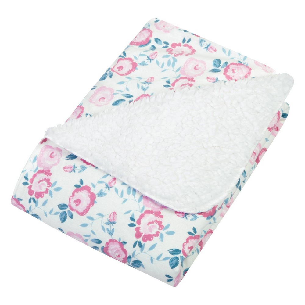 Trend Lab Flannel And Faux Shearling Baby Blanket Emma Pink