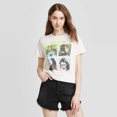 Women's The Beatles Let it Be Short Sleeve Graphic T-Shirt (Juniors') - Ivory
