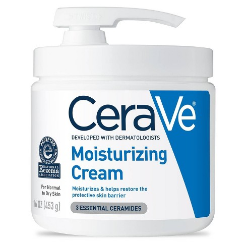 CeraVe Moisturizing Cream with Pump + Body and Face Moisturizer for Dry Skin with Hyaluronic Acid and Ceramides - 16 fl oz - image 1 of 4