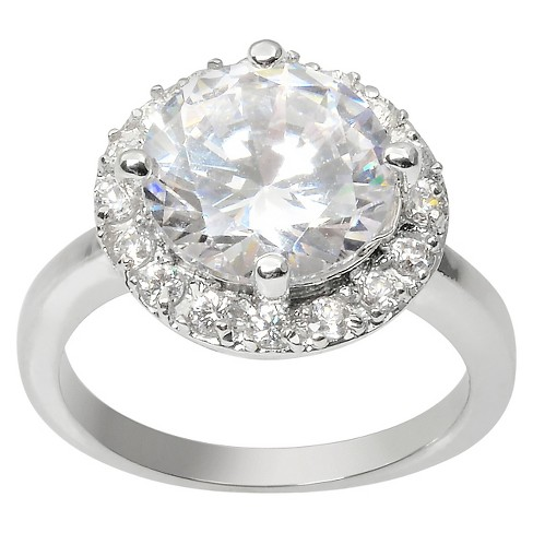 4 2/5 CT. T.W. Journee Collection Round Cut CZ Basket Set Halo Ring in Brass - Silver - image 1 of 2