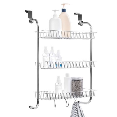 """Juvale Metal Over The Door Hanging Organizer Rack for Pantry Bathroom Kitchen Cabinet with 3 Storage Baskets & Hooks, Up to 1.57"""" Thick"""