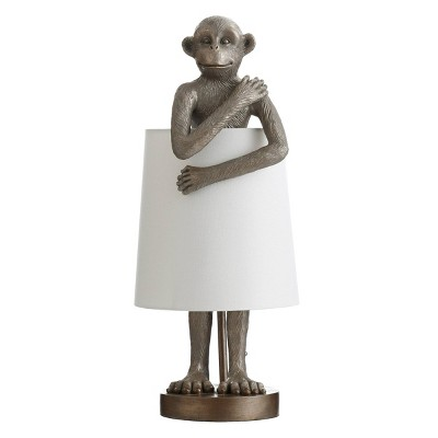 Standing Antique Brass Monkey Table Lamp with Shade Blue - StyleCraft