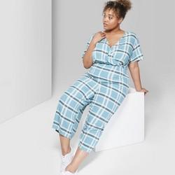 1b239d01 Women's Plus Size Plaid Short Sleeve Twist Front Jumpsuit - Wild Fable™  Blue Stencil
