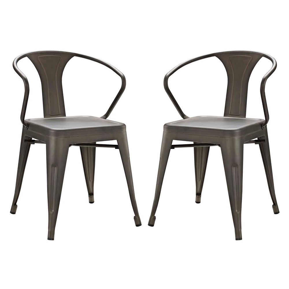 Promenade Dining Chair Set of 2 Brown - Modway