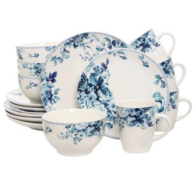 16pc Stoneware Antique Garden Dinnerware Set Blue - Elama